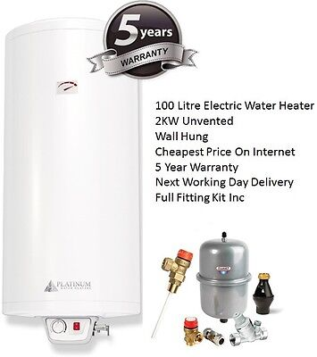 Unvented Direct Electric Water Heater Boiler Cylinder 100L 100 Litre 2KW