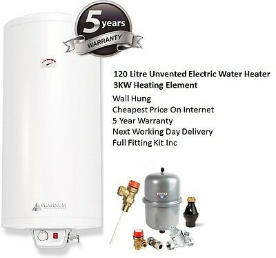 120 Litre 120L 3KW Direct Unvented Electric Water Heater W/Full Fitting Kit