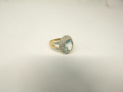 Hallmarked 9 CT Gold with Large Topaz and Diamonds Ring Size L.