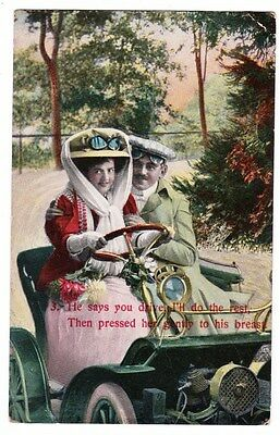 Early Postcard, Old Car, Comic, You Drive I`ll Do The Rest,