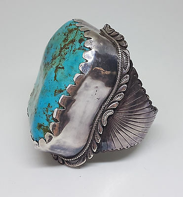 Rare Antique Giant Turquoise Silver Bracelet Cuff 269 G.