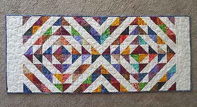 "Hand Made Quilted Table Runner ~ Batik~ Multi~ 17 1/4"" x 41"""
