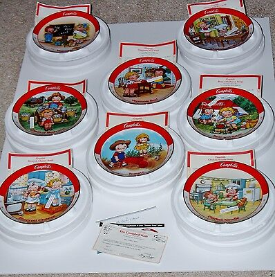 The Campbell Kids - Complete Set of 8 Collector Soup Plates - 1993-94