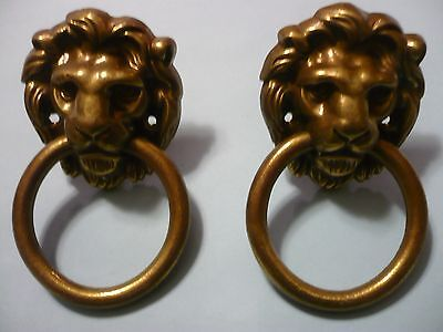 "2 vintage antique brass lion head pulls or knockers 2 1/4""wide x 2 1/2""tall"