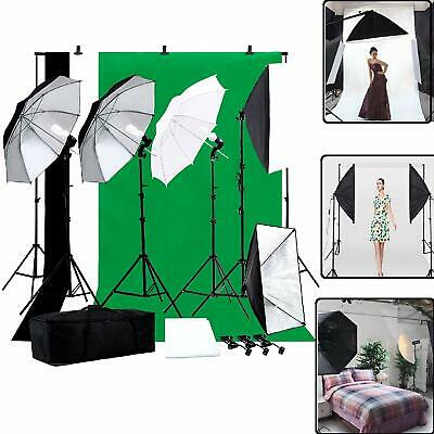 Photo Studio Photography Lighting Kit Muslin Backdrop Stand Set Umbrella Softbox