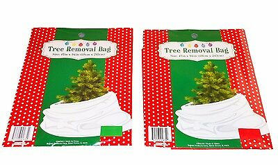 "Lot Of 2 Christmas Tree Removal Bags Red And Green Disposal 47"" Wide  x 96"" High"