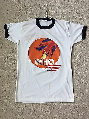 Vintage -THE WHO 1976 TOUR Concert T-SHIRT- Rare-Blue Ring Collar & Sleeves