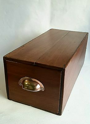 Vintage Oak single index file drawer with brass handle