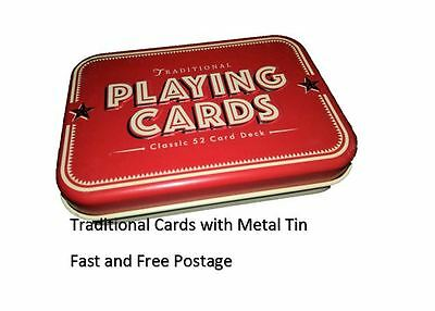 Traditional Playing Deck of 52 Cards in a Metal Tin Classic Pack Retro Gift idea