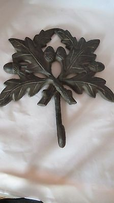 Vintage Cast iron Hook Hanger Wall Decor Oak Leaves, Acorns