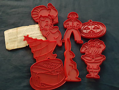 Vintage 1970s Tupperware Holidays Cookie Cutters Red Complete Set of 8