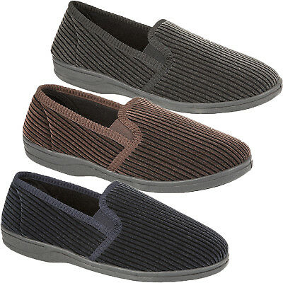 Mens Classic Twin Gusset Slippers Cord Striped Warm Indoor House Shoe Sizes 6-14