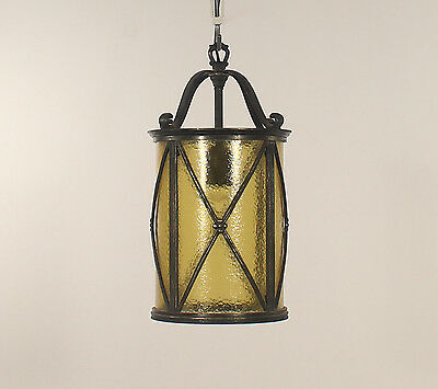 Antique French 1 Light Black Wrought Iron Lantern with Amber Rain Glass