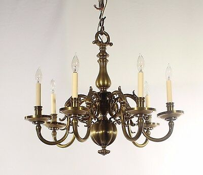 Antique Cast Brass Williamsburg Style Chandelier (Belgium Circa 1920's)