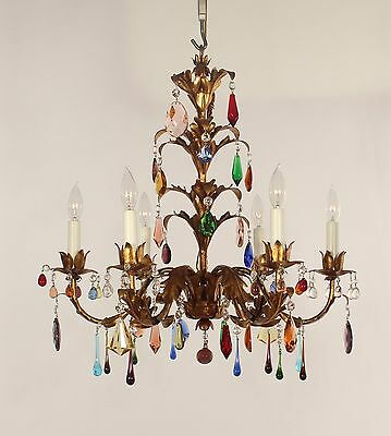 Italian 6 Light Gold Leaf Chandelier w/ Multi-colored Crystals