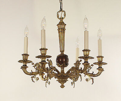 Spanish Antique 6 Light Bronze Regency Chandelier circa 1950's (Brown & Gold)