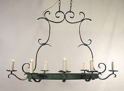 8 Light Oval Green Wrought Iron Chandelier