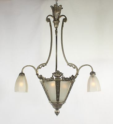Antique ART DECO Nickel Chandelier W/Frosted Glass Shades(France 1920's)