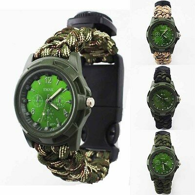 Survival Watches Woven Bracelet Compass  Flint Fire Camo Starter Kits Outdoor