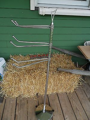 ANTIQUE Chrome SWING ARM Floor Stand Towel Holder Doctor Dental Tool RACK