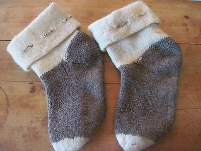 Vintage Wool Socks Brown Cream Stitching