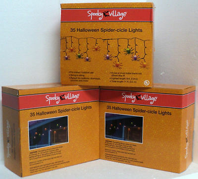 35 Multi Color Spider Icicle In/Outdoor Light Set S2S - NEW Spooky Village