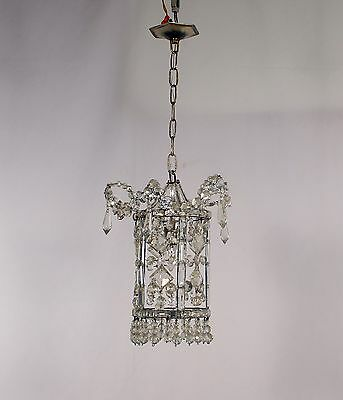 Antique Spanish 1 Light La Granja Crystal Lantern