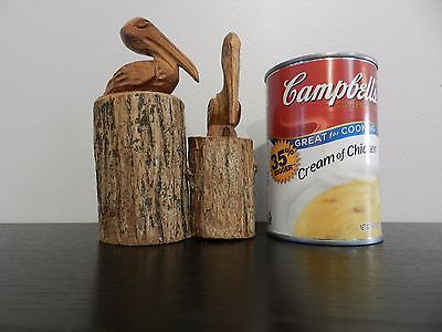Vintage Hand Carved Wood Pelicans on Piling Nautical Decor Ocean Beach Bird Gift