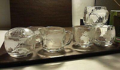 Vintage 1970's Nestle Nescafe Glass World Globe Etched Coffee Set 6 pieces