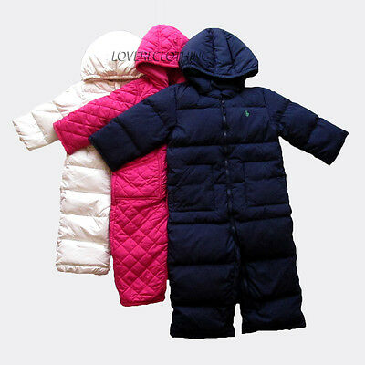 Polo Ralph Lauren Kids Childrens Navy Pink Elmwood Down Snowsuit 9M 12M 18M 24M