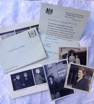 Typed letter & photographs British Transport Police Woman Constable 1972