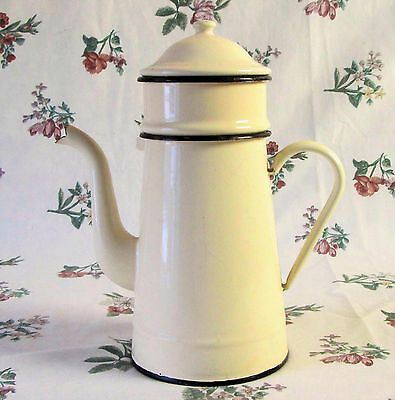 Vintage French Superb Yellow Enamel Cafetiere 4-Pce Filter Coffee Pot Kettle