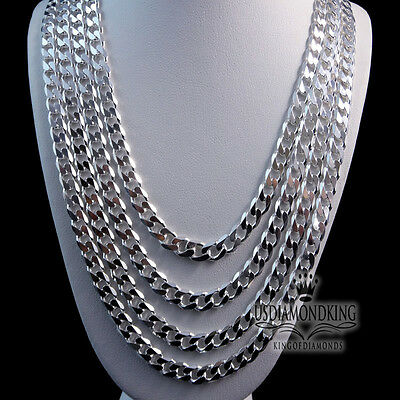 Italian Sterling Silver Miami Cuban Curb Necklace Chain 9 Mm 24 Inch ~26 Inch