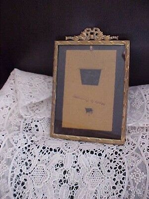 Antique Vintage Victorian Photo Picture Frame Gold Brass Cabinet Card  Bow Top~