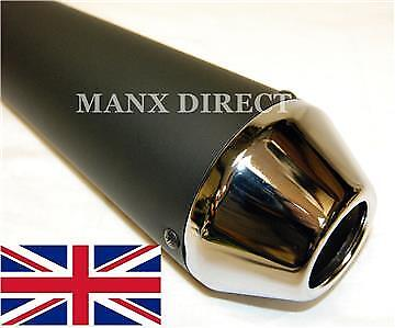 "Universal Black & Chrome Tip 17"" Reverse Cone Shorty Megaphone Exhaust Silencer"