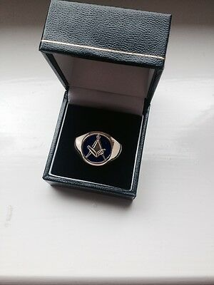 Masonic New 18Ct Gold & Blue Enamel Square And Compass Ring. Size Y.