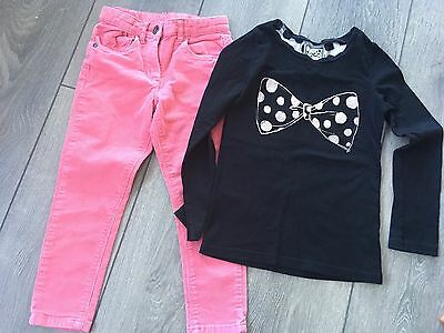 Girls George Pink Cord Trousers And Next Long Sleeved Now Top Age 4-5yrs