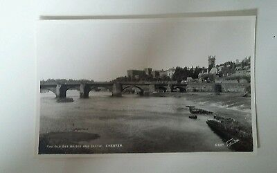 The Old Dee Bridge And Castle. Chester. RP. Postcard
