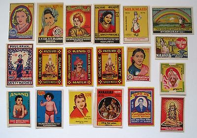 LOT of 19 Match Box Labels Picturing PEOPLE India?