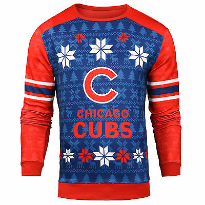 Forever Collectibles MLB Men's Chicago Cubs Printed Ugly Sweater