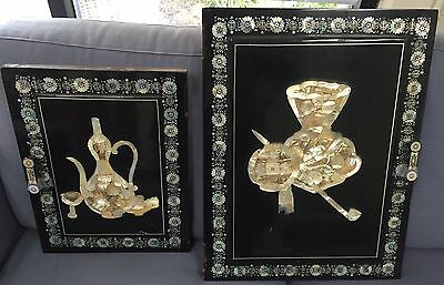 2 x Japanese Antique Architectural Door Shelf Panels w/ Mother of Pearl Embedded
