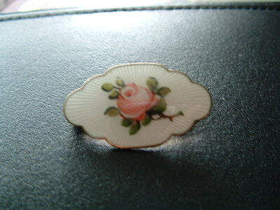 O F Hjortdahl- Norway -  White Enamel With Pink Rose Sterling Silver 925S Brooch