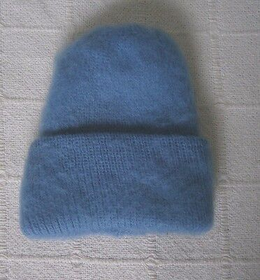 Vintage Ladybird Childs Wooly Hat - Slate Blue -  Fluffy Ribbed - New