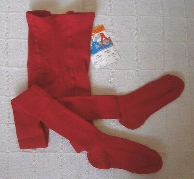 Vintage Wool Tights - Age 11-12Years - Cherry Red - Ribbed Wool/Nylon - New