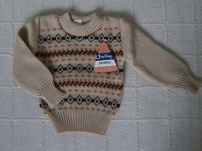 Vintage Baby Jumper- Age 6 months Approx - Beige/Brown Fairisle - Acrylic - New
