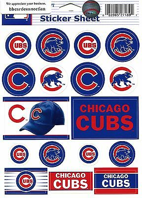 CHICAGO CUBS ~ Lot of (17) Stickers ~ 5x6 Inch Sticker Sheet ~ New!