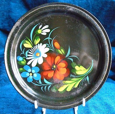 small old RUSSIAN black metal plate painted with flowers #2