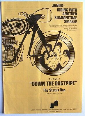 STATUS QUO 1970 Poster Ad DOWN THE DUSTPIPE