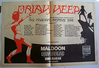 URIAH HEEP 1973 Poster Ad THE MAGICIAN'S BIRTHDAY CONCERT TOUR