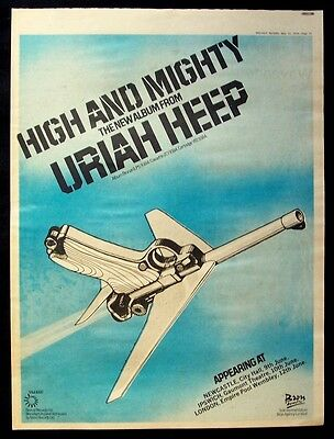 URIAH HEEP 1976 Poster Ad HIGH AND MIGHTY